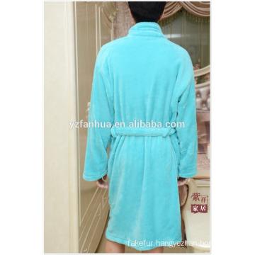 Long Sleeve Knee Length Coral fleece bathrobe for Mens
