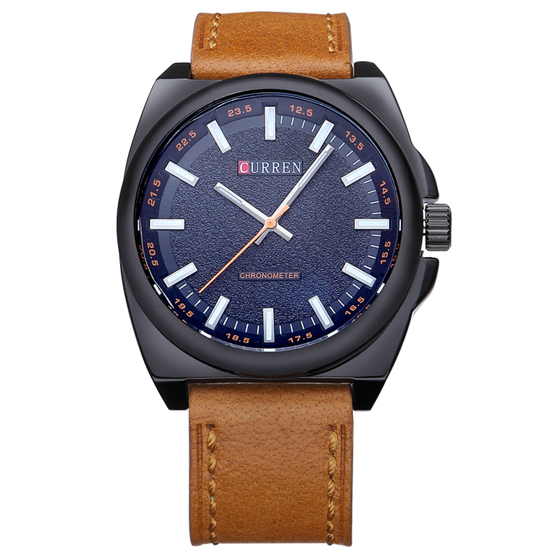 Big Dial Real Leather Quartz Watch men