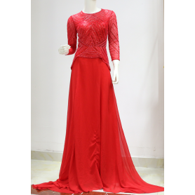 Red Beaded Sequin Long Sleeve Gown Party Dress