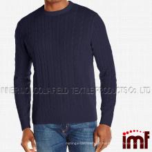 Homens 100% cashmere cabo tripulação pescoço camisola