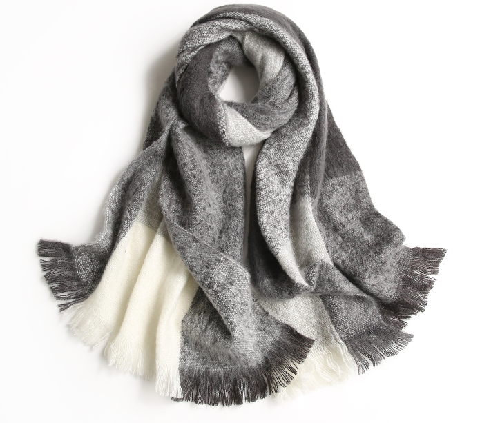 Plaid Woman Shawl Woven Scarf Grey
