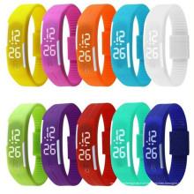 Relógios de Digitas da tela de toque da borracha de silicone da cor dos doces dos relógios do diodo emissor de luz do esporte da forma, bracelete impermeável