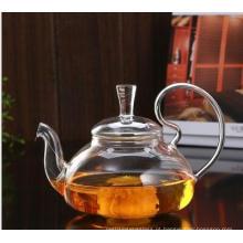 Big Capacity Teapot de vidro de resistência ao calor com infusão de aço inoxidável