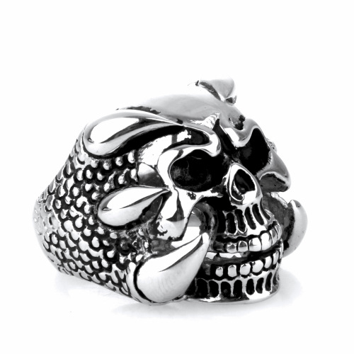 Titanium Steel polishing Dragon claw skull ring