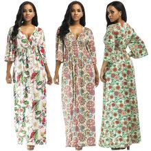 Bohemia estilo digital estampa floral sexy vestido longo tamanho grande meia manga v vestido de gola