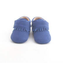 Blå Baby Kids Solid Leather Moccasin