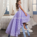 Purple Tulle Sleeveless Lace Flower Girl Dresses short front long back Ball Gown for Girls Little Girls Pageant Dresses