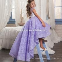 Fiesta de la muchacha del baile de fin de curso vestidos corto frente largo espalda púrpura vestido de fiesta de encaje del bebé patrones de vestido de niña