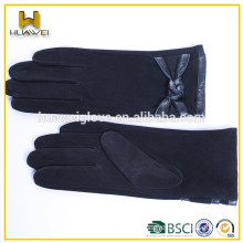 girls fashion suede leather hand gloves with wool lining