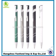 Bolígrafo de aluminio profesional clip retráctil de metal barato