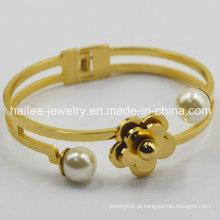 Bracelete de aço inoxidável da melhor flor do projeto para o presente