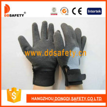 Guantes ajustables de nilón Grey T / C Shell Black Wrist Work (DKL562)
