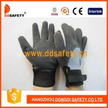 Grey T/C Shell Black Nitrile Adjustable Wrist Work Glove Dkl562