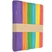 Wholesale High quality 114*10*2mm colorful wooden ice cream craft sticks popsicle sticks
