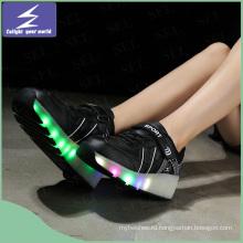 Мода PU кожа USB светодиодный светящиеся обувь зарядки обувь