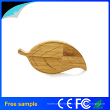 Hoja popular forma de madera USB Flash Drive