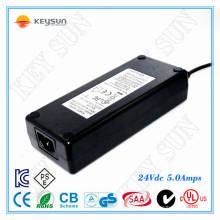 Entrée 90-264v 120w adaptateur cc 220v à 24v 5a adaptateur secteur UL1310 Certification