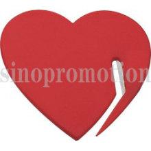Abridor de cartas em plástico promocional em forma de coração
