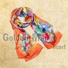 Жирный красочный цифровой печати длинный шелковый шарф
