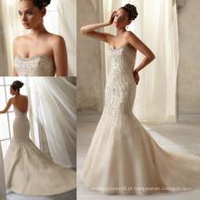WD2959 Strapless blusa sem mangas, decote, pérola, diamante, sereia, trompete, pesado, frisado, champanhe, casamento, vestido