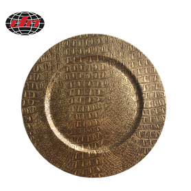Dark Gold Crocodile Skin Plastic Charger Plate