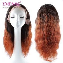 Ombre Couleur Brésilienne de cheveux humains pleine perruque de dentelle