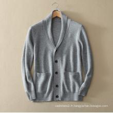 Cardigan en tricot de cachemire pur hommes pour manteau de pull épais d'hiver avec poche à encolure en V col simple