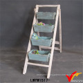 Handmade Vintage Folding 4 Trays Wood Plant Stand