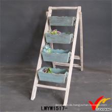 Handgefertigte Vintage Folding 4 Trays Holz Pflanze Stand