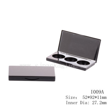 Simple black eyeshadow case wholesale rectangle eyeshadow packaging with mirror 3 color eyeshadow pan packaging