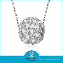 Micro Paved CZ Серебряный бисера ожерелье ювелирные изделия (SH-N0116)