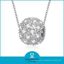 Micro gepflasterte CZ Silber Perle Halskette Schmuck (SH-N0116)