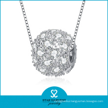 Micro Paved CZ Silver Bead Necklace Jewelry (SH-N0116)