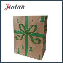 Brown Kraft Paper Green Glitter Bowknot Shopping Sac à papier cadeau