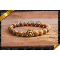 Hot Selling Gold Lion Head Chams Bracelets with Stone Beads (CB061)
