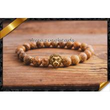 Hot Selling Gold Lion Head Chams Bracelets avec des perles de pierre (CB061)