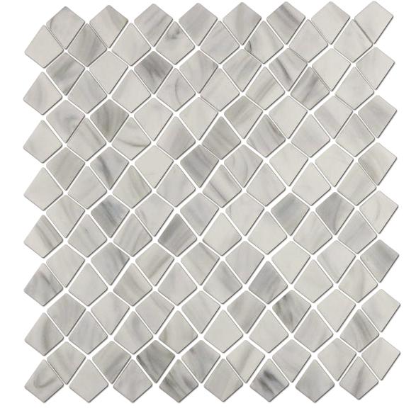 White Stone Alike Kite Shape Glass Mosaic