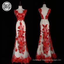 Flor de moda design eco-friendly mais recentes padrões de vestido formal vermelho
