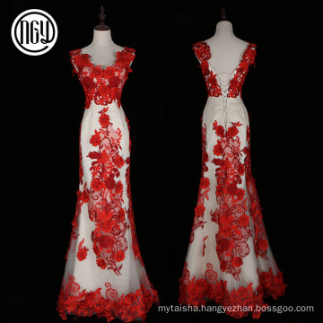 Eco-friendly design fashion flower latest red formal dress patterns