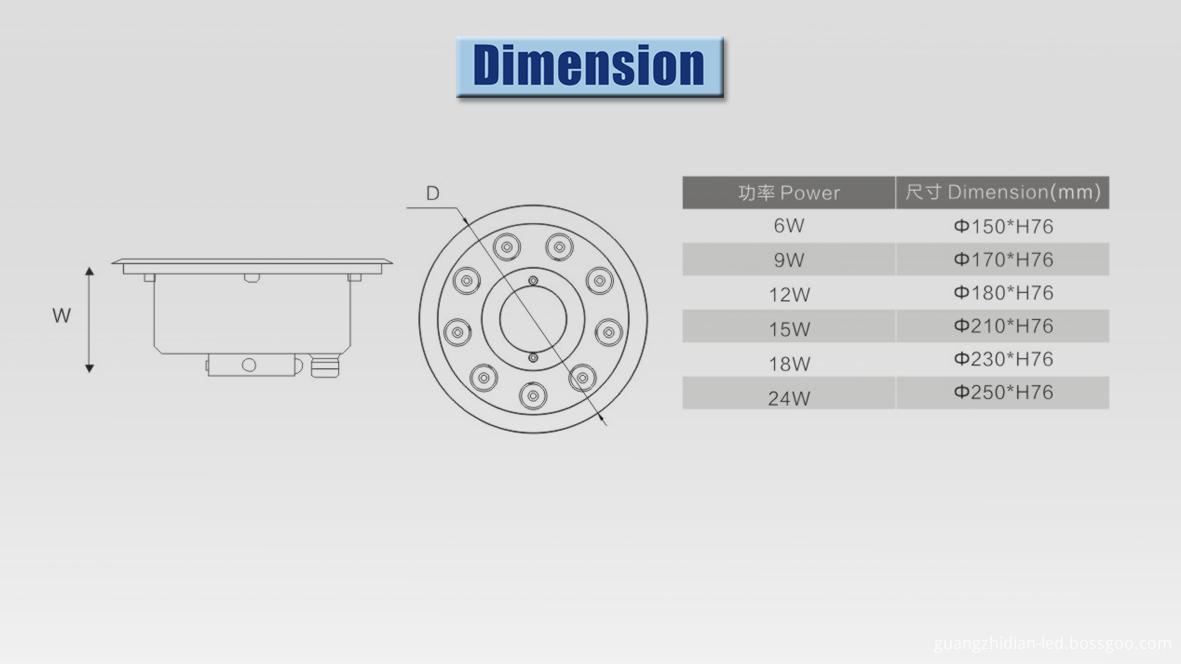 led underwater light dimension