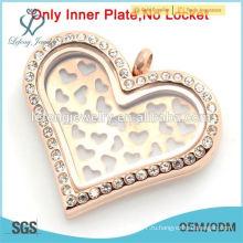 Высокое качество нержавеющей стали розовое золото сердце пластин украшения для 30 мм плавающей медальон