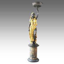 Сад Бронзовая Скульптура Индийский Леди Домашнего Декора Латунь Статуя Tpls-063 / 065