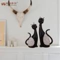 Los productos más vendidos decoración de casa de resina de corte negro estatuilla de gato para los regalos