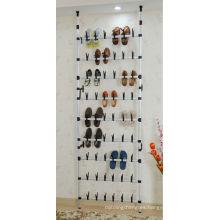 Zapatero de metal montado en la pared para 30 pares, bastidores de zapatos con ruedas