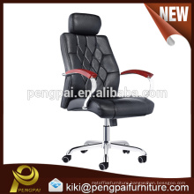 Executive wooden reclining PU leather office chair with wheels