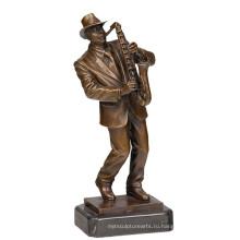 Музыкальный Декор Латунь Статуя Мужчина Игрок Ремесла Бронзовая Скульптура Т-752