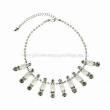 Rhinestone Sparkly Necklace, Silver-tone, Small Orders are Welcome