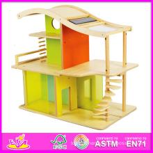 2014 nouveaux enfants en bois jouet maison, jeu populaire en bois enfants jouet maison, éducatif bébé en bois jouet maison ensemble usine w06a052