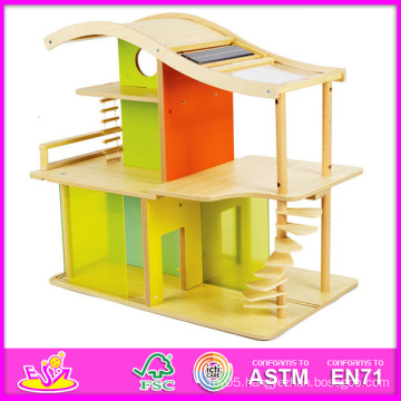 2014 New Kids Wooden Toy House, Popular Play Wooden Children Toy House, Educational Baby Wooden Toy House Set Factory W06A052