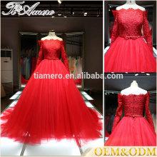 Vestido de noiva de alta qualidade novo e exclusivo de moda real vestido de bola vermelha 2017